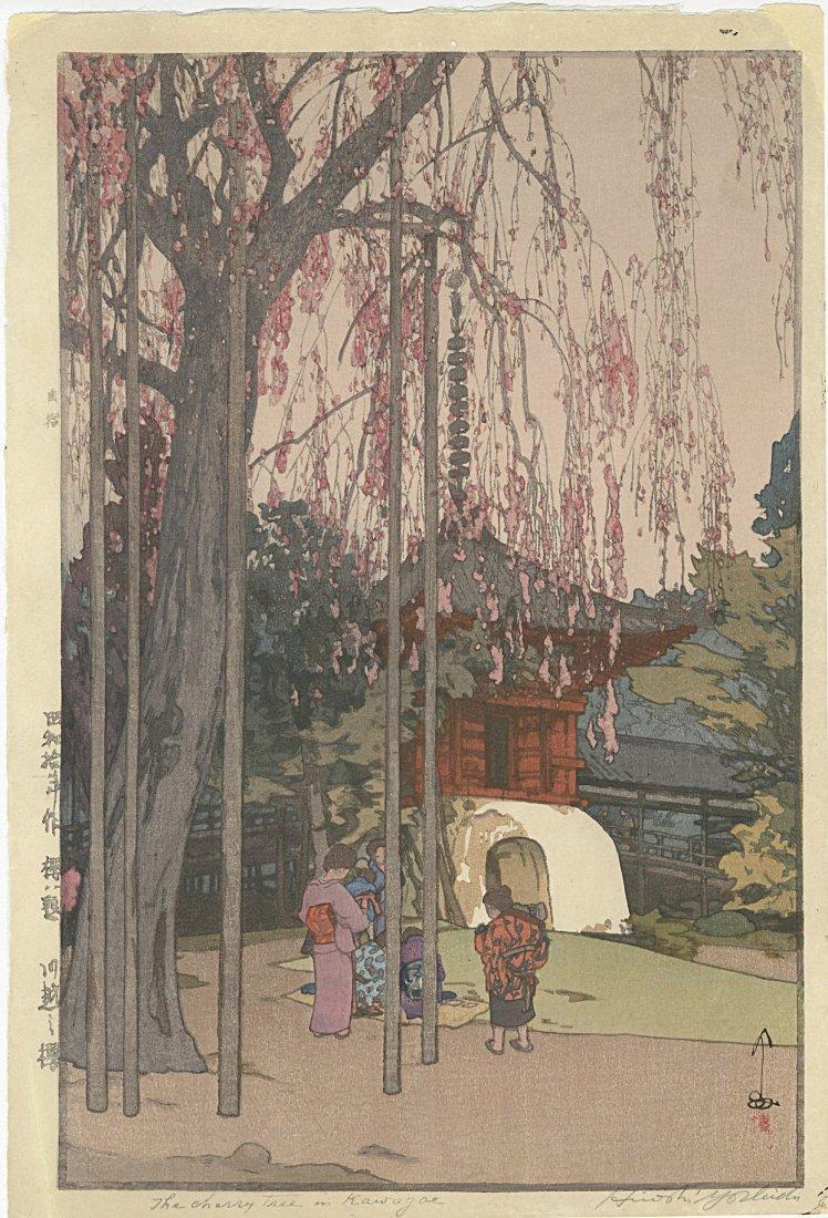 Hiroshi Yoshida Woodblock Cherry Tree Kawagoe