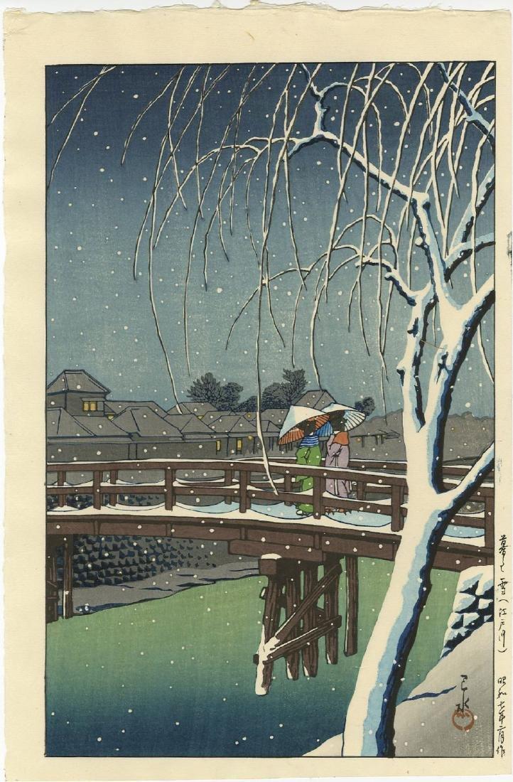 Hasui Kawase Woodblock Evening Snow, Edo River