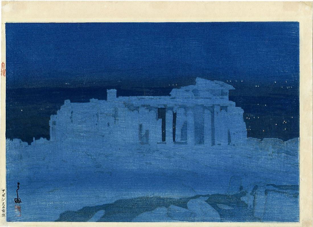 Hiroshi Yoshida Woodblock Acropolis at Night