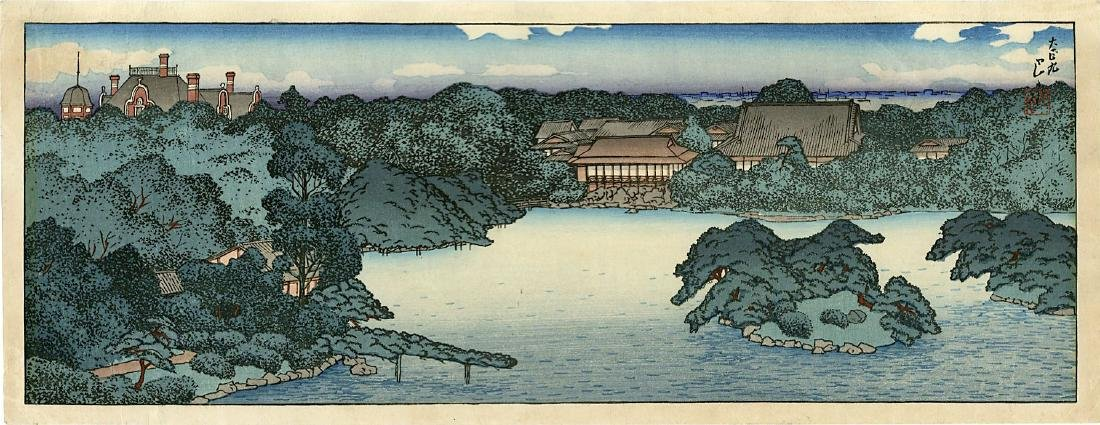 Hasui Kawase Woodblock Panora of Daisensui Pond