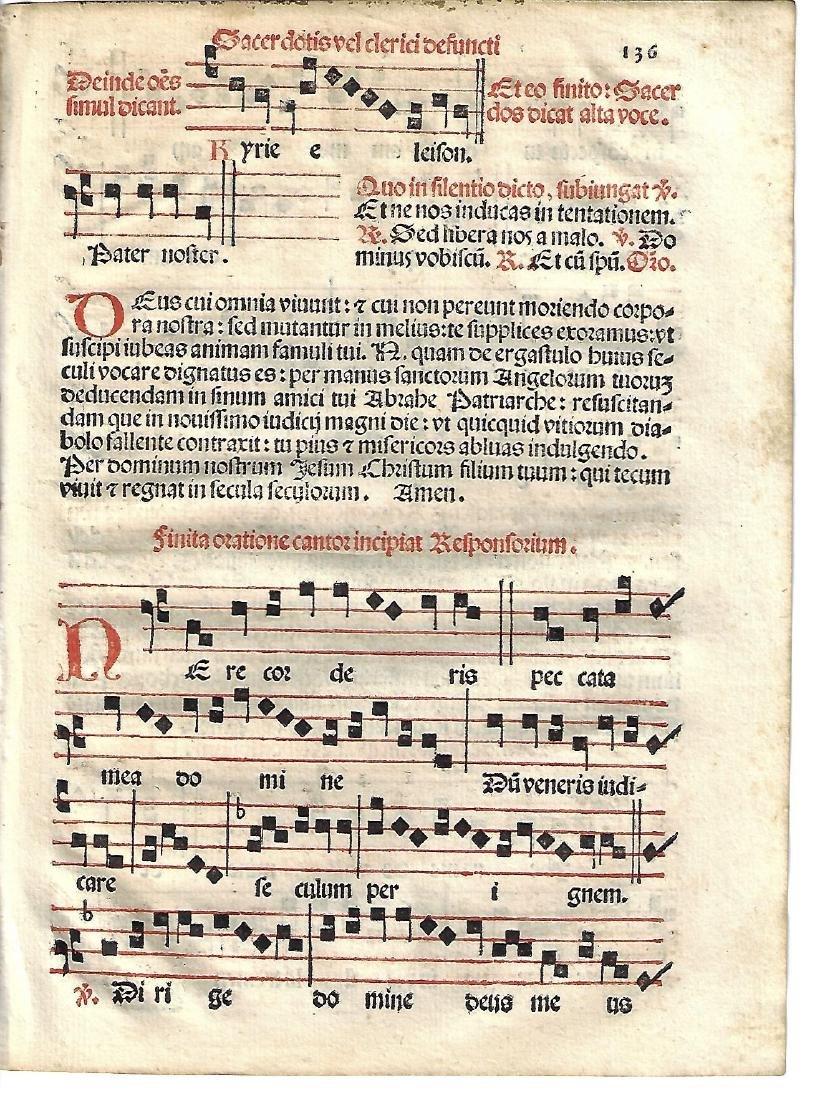 1567 Catholic Hymnal Leaf Red and Black Music