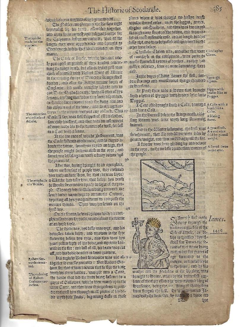 1577 Woodcut Leaf Holinshed Historie of Scotlande