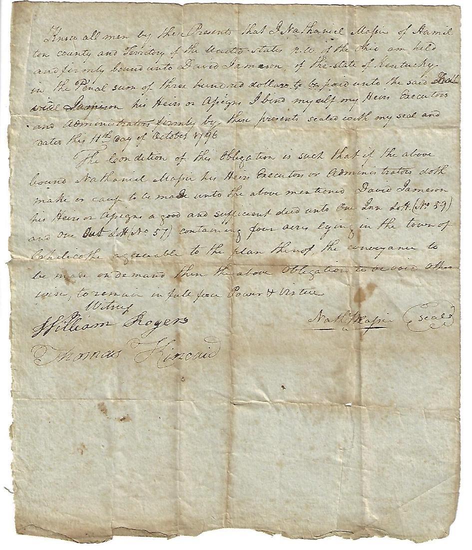 1796 Ohio Obligation Bond Nathaniel Massie