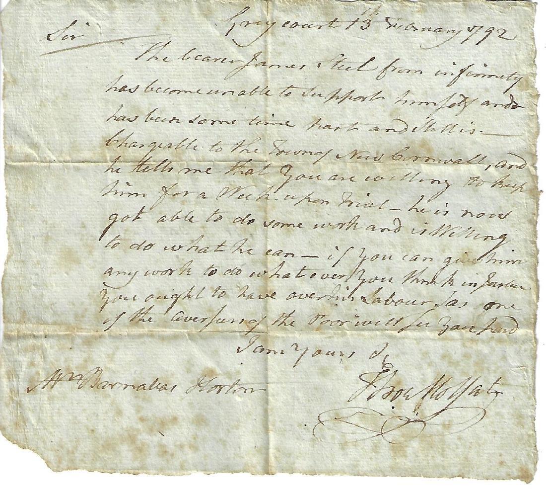 1792 Manuscript New York Indigent Poor Laws