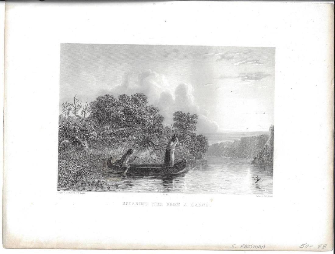 1853 Eastman Engraving Indians Spearing Fish from Canoe