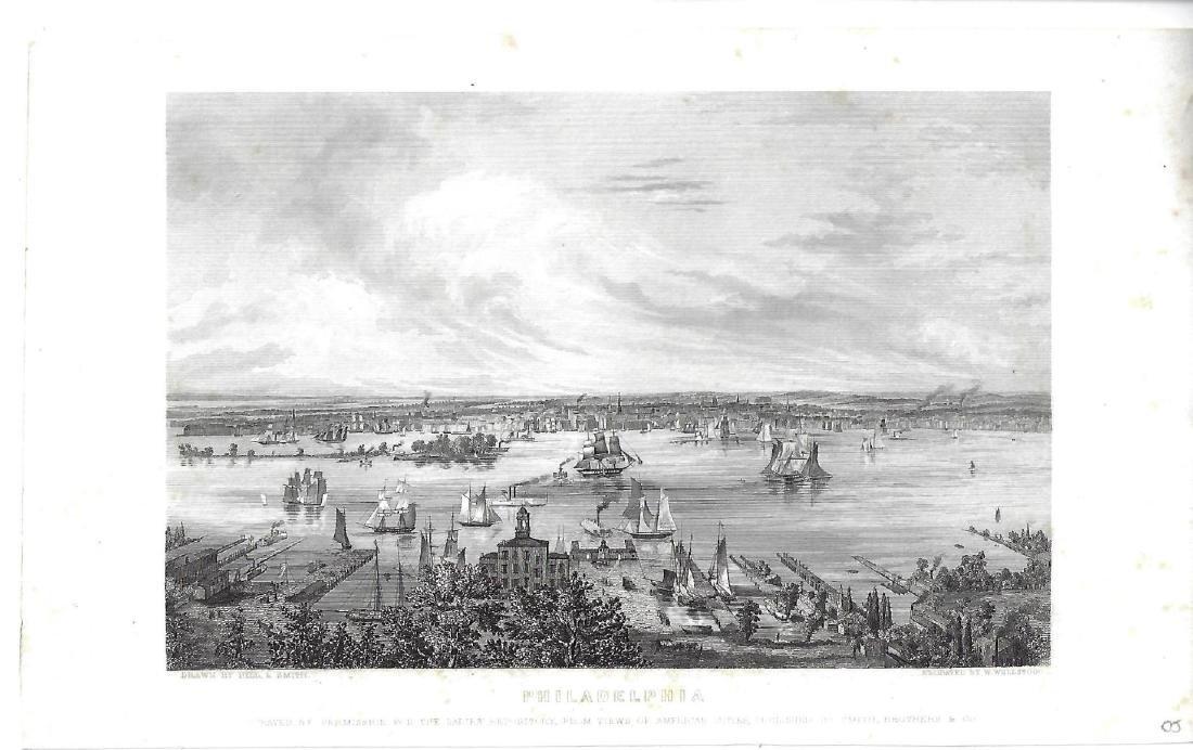 1855 Engraving of Port of Philadelphia