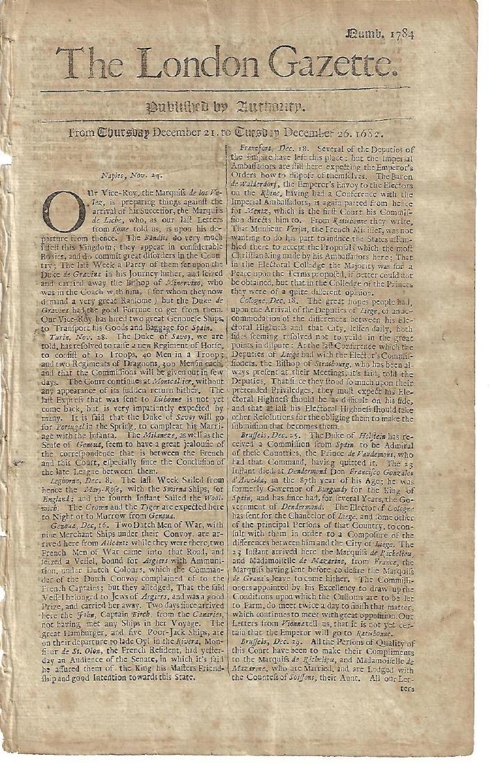 1682 London Gazette European News Pope
