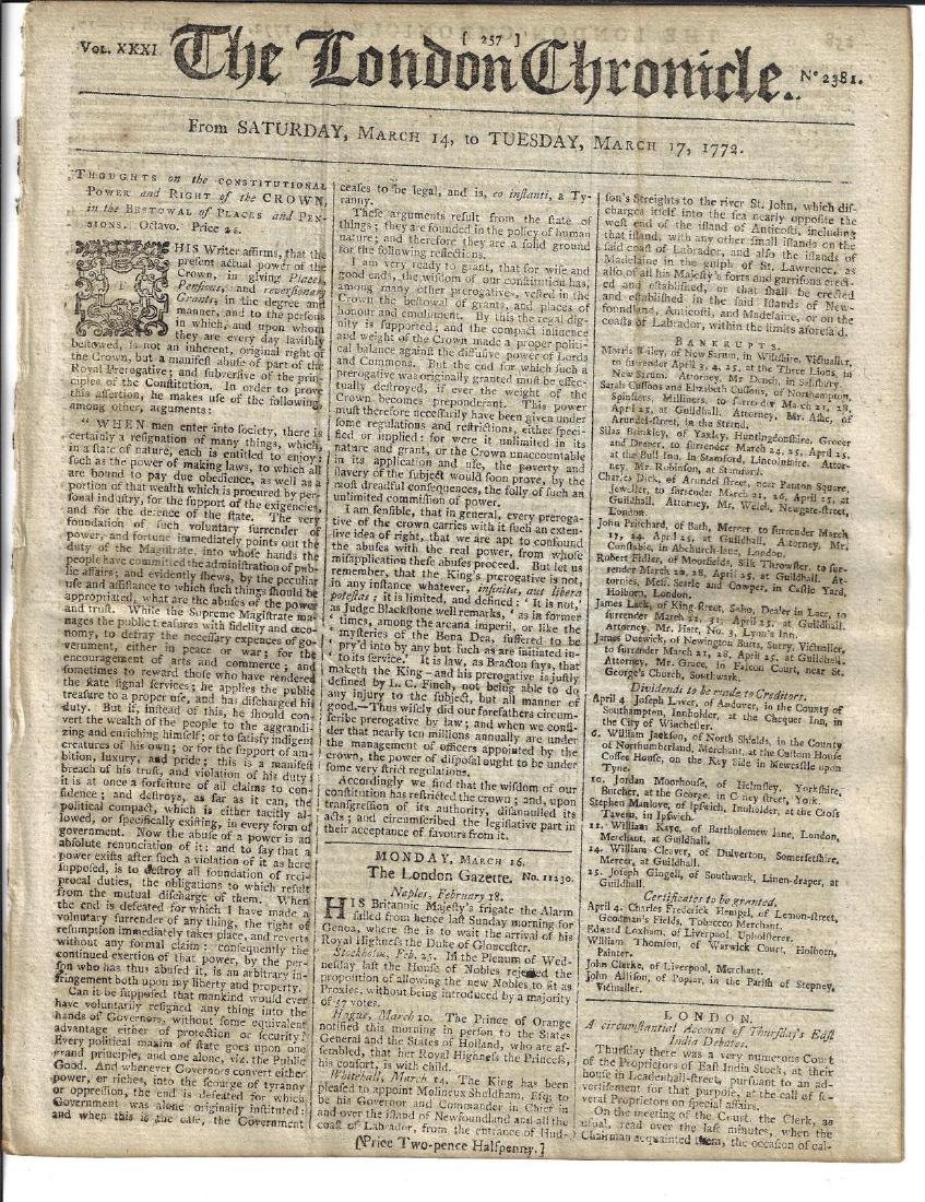 1772 London Chronicle Thoughts on English Constitution
