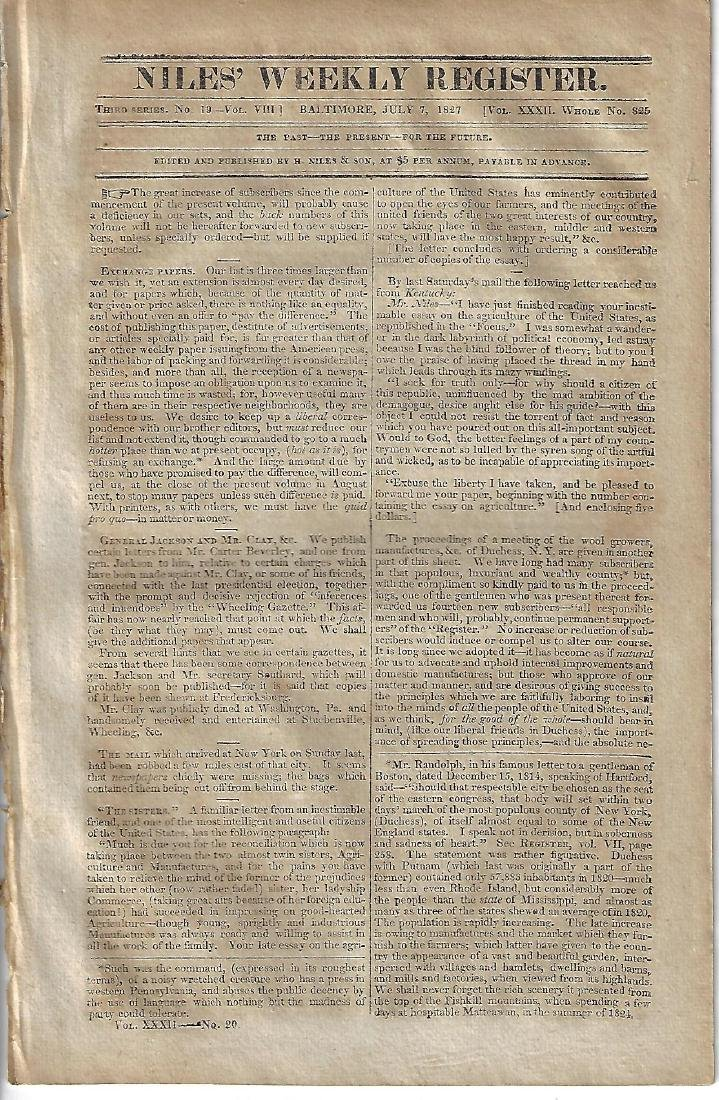 1827 Niles Register Andrew Jackson Indian Tribes