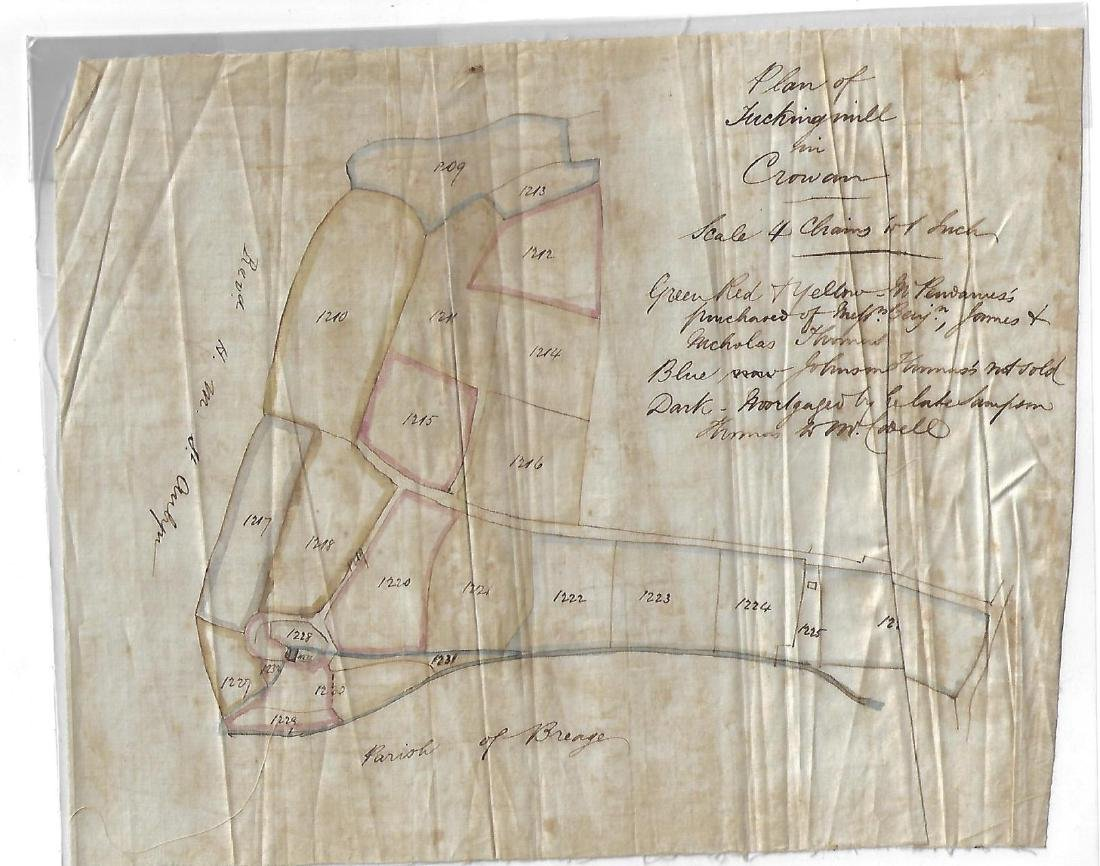 19th C Linen Manuscript Map Tuckingmill Cornwall