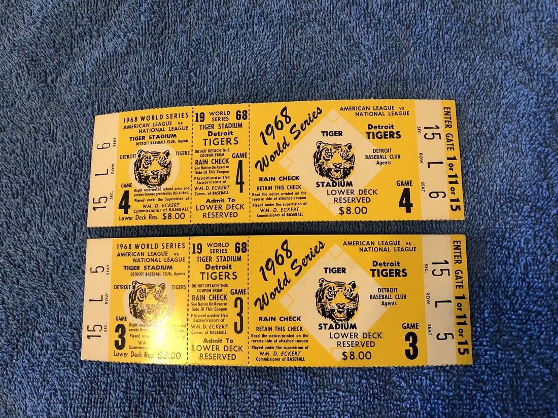 2 - Mint 1968 World Series Tickets
