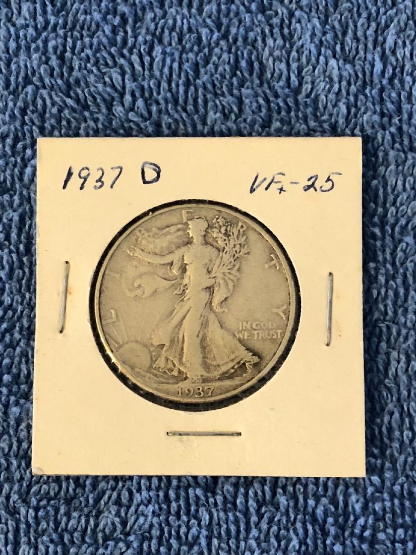1937D VF+25 Walking Liberty Half Dollar