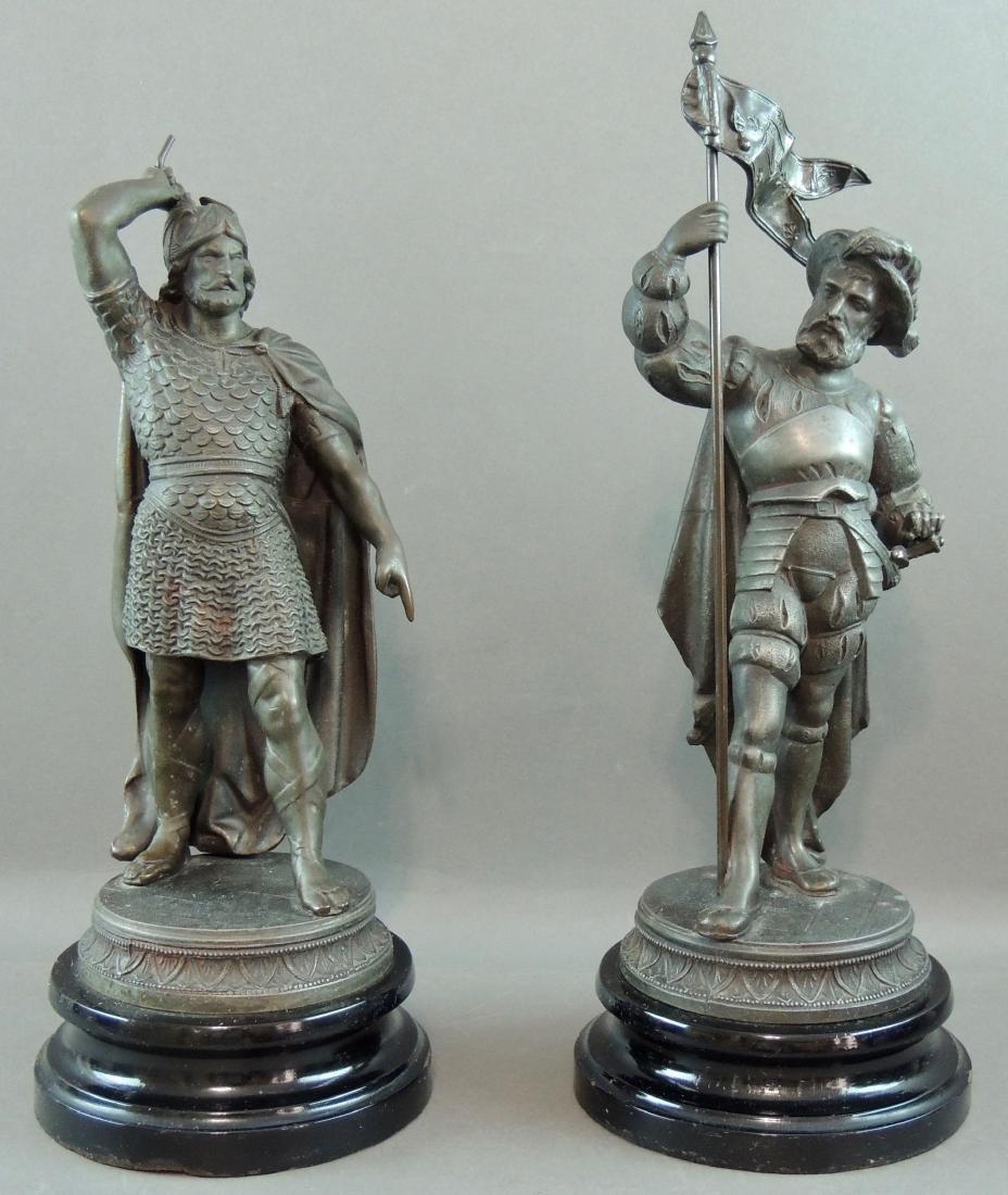 Spelter Figural Cavaliers, Pair
