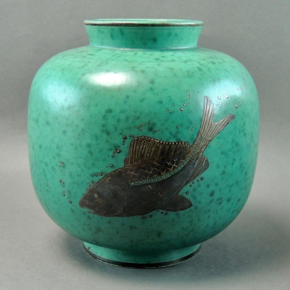 Gustavsberg Sweden Vase, Silver Overlay