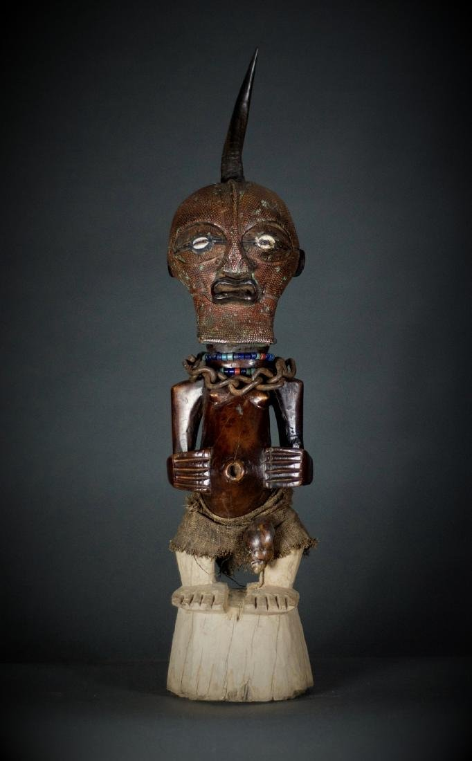 African Tribal Songye Power Nkisi Figure Copper Face