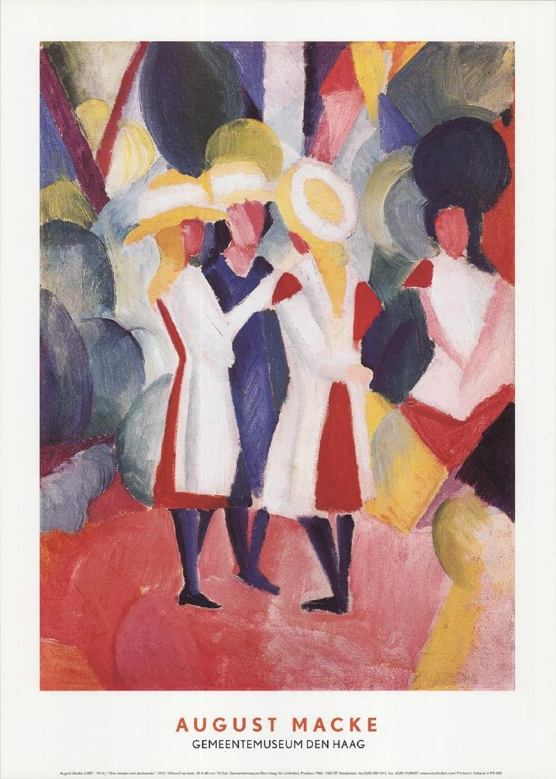 August Macke - Three Girls With Straw Hats