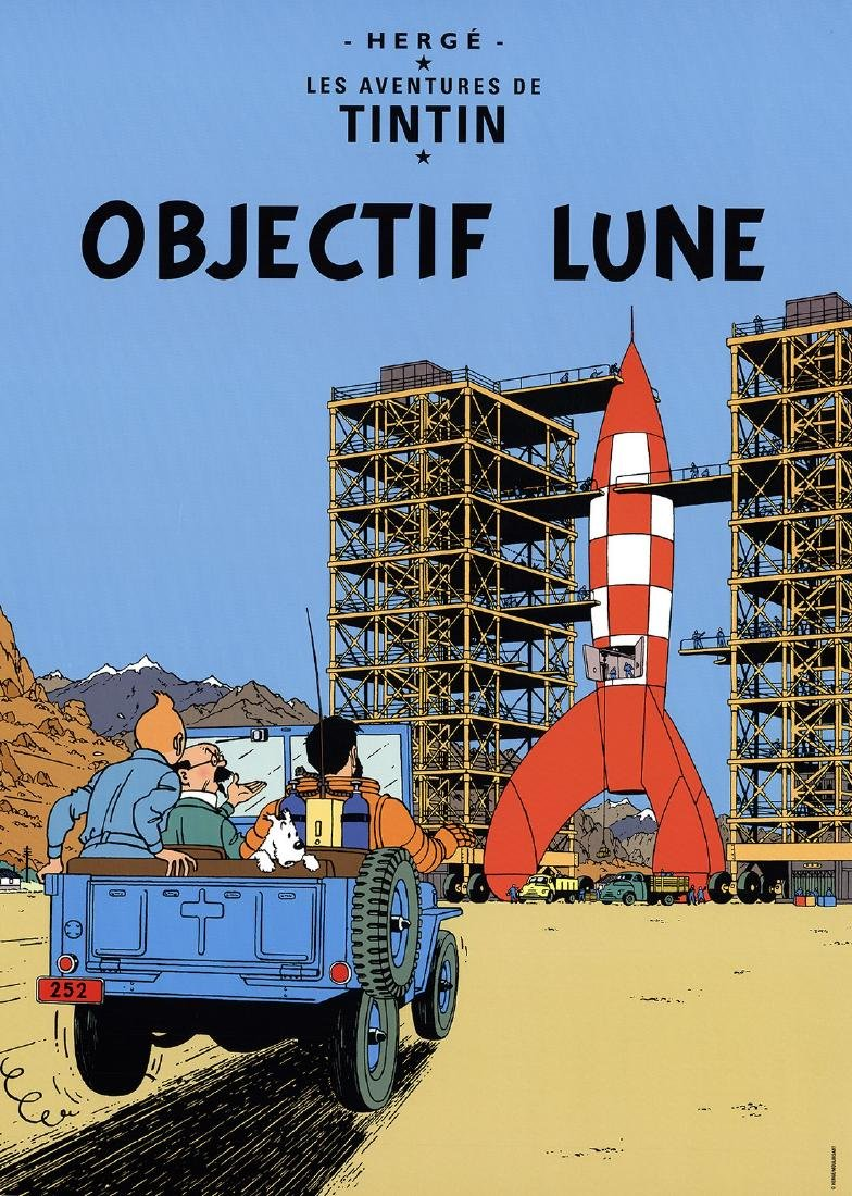 3 Assorted Herge Lunar Rocket Art Pieces
