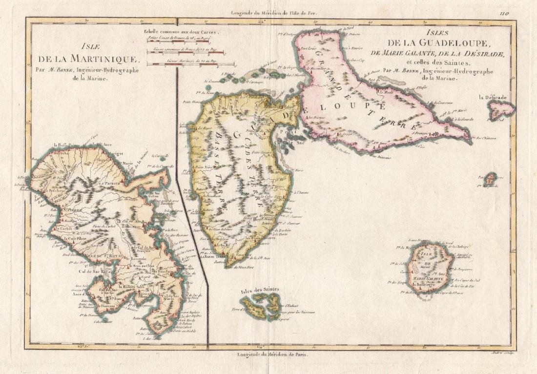 Bonne: Antique Map of Martinique & Guadeloupe, 1787