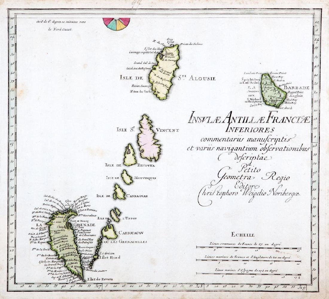 Weigel: Antique Map of Southern French Antilles, 1718