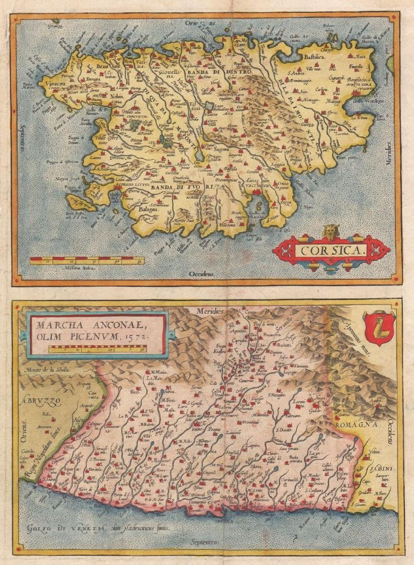 Ortelius: Map of Corsica/The March of Ancona, 1572