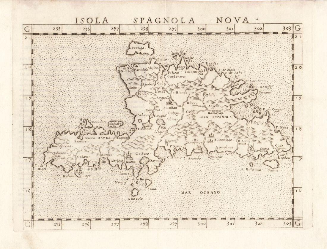 Ruscelli: Antique Map of Hispaniola, 1562