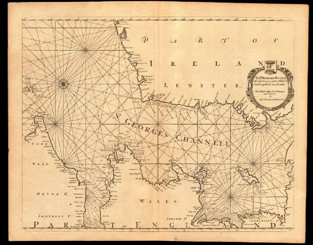 Collins: Antique St. Georges Channell sea chart, 1774