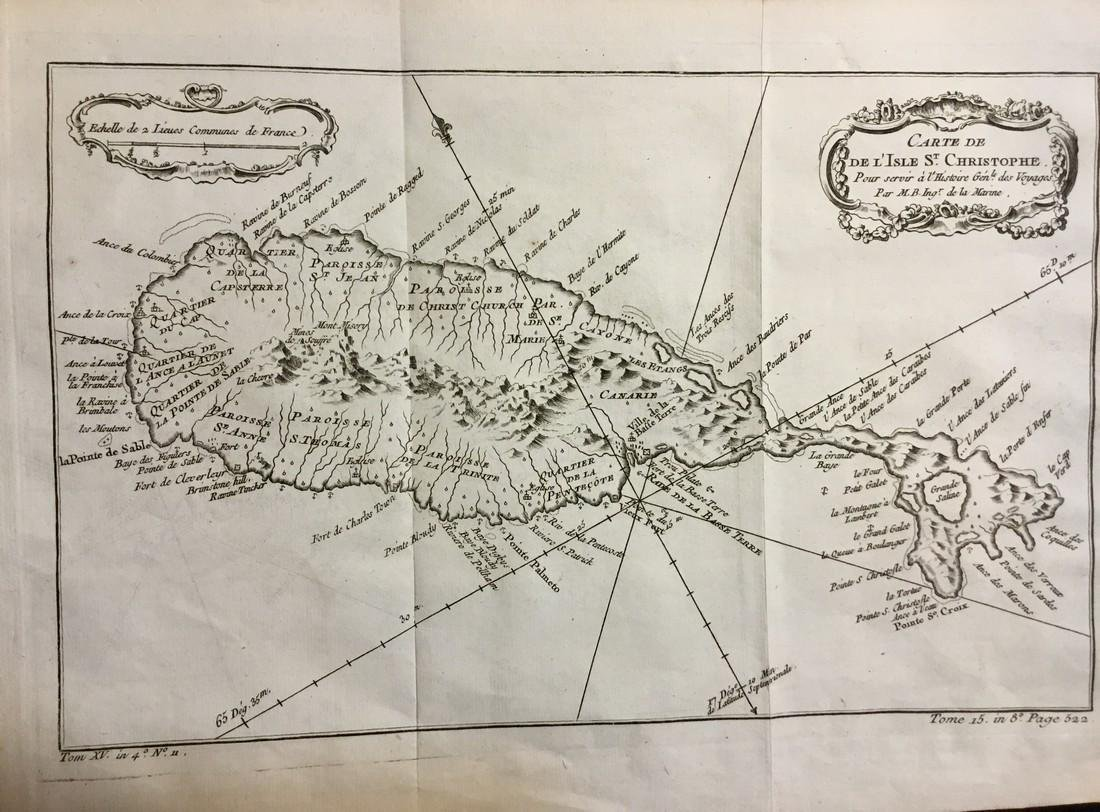 Bellin: Antique Map of St. Christopher, 1740