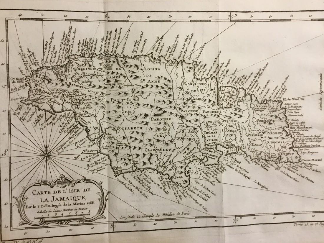 Bellin: Antique Map of Jamaica, 1740-70