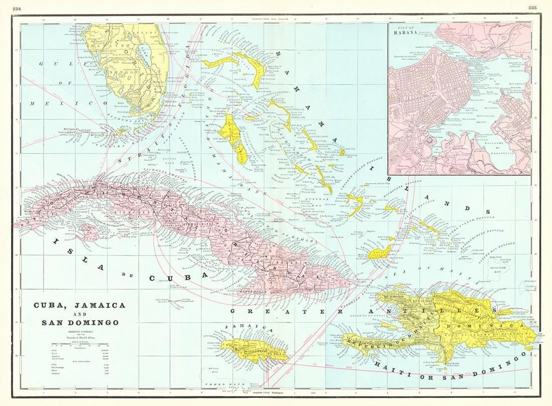 Cram: Map of Cuba, Jamaica and San Domingo 1895