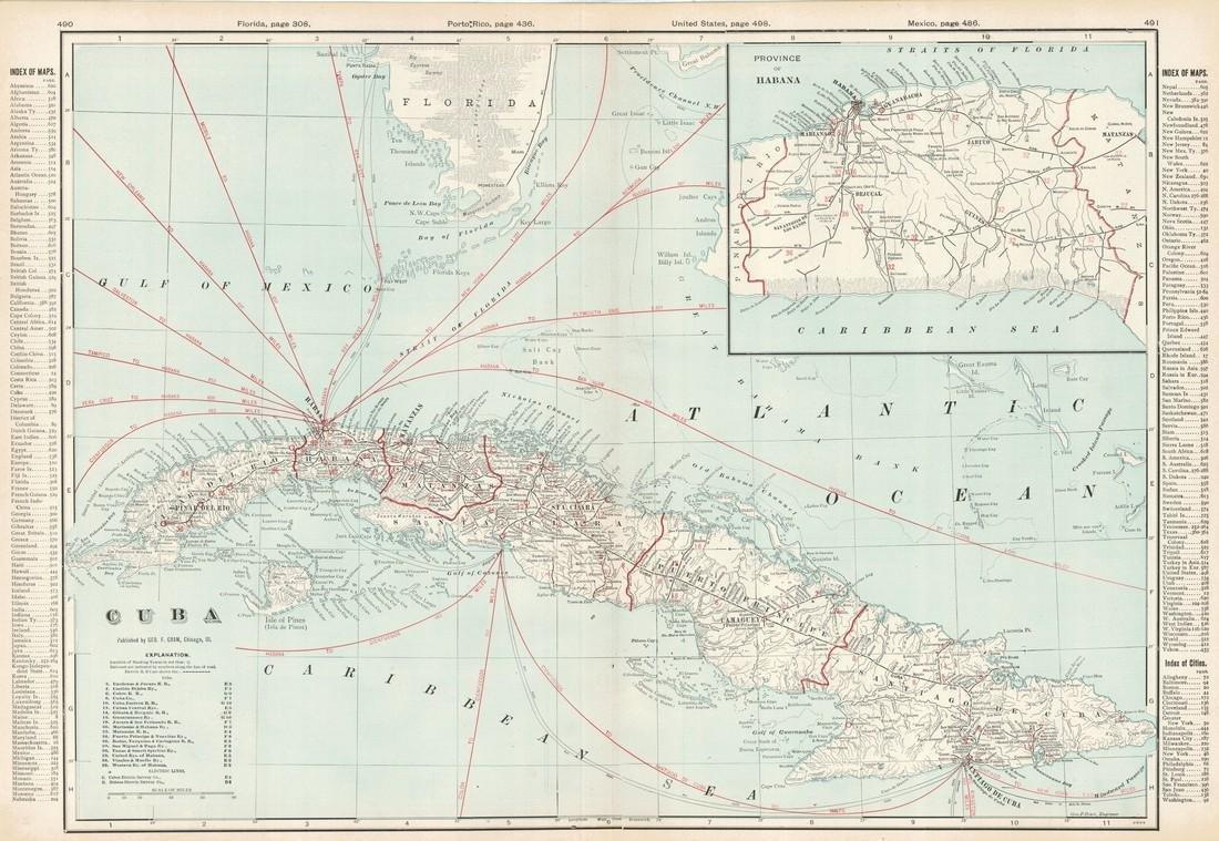 Cram: Antique Map of Cuba, 1906