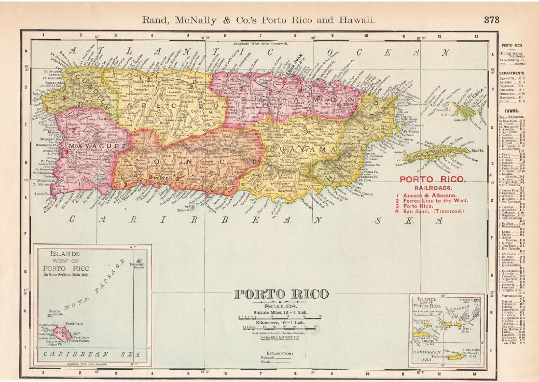 Rand McNally: Antique Map of Puerto Rico, 1899