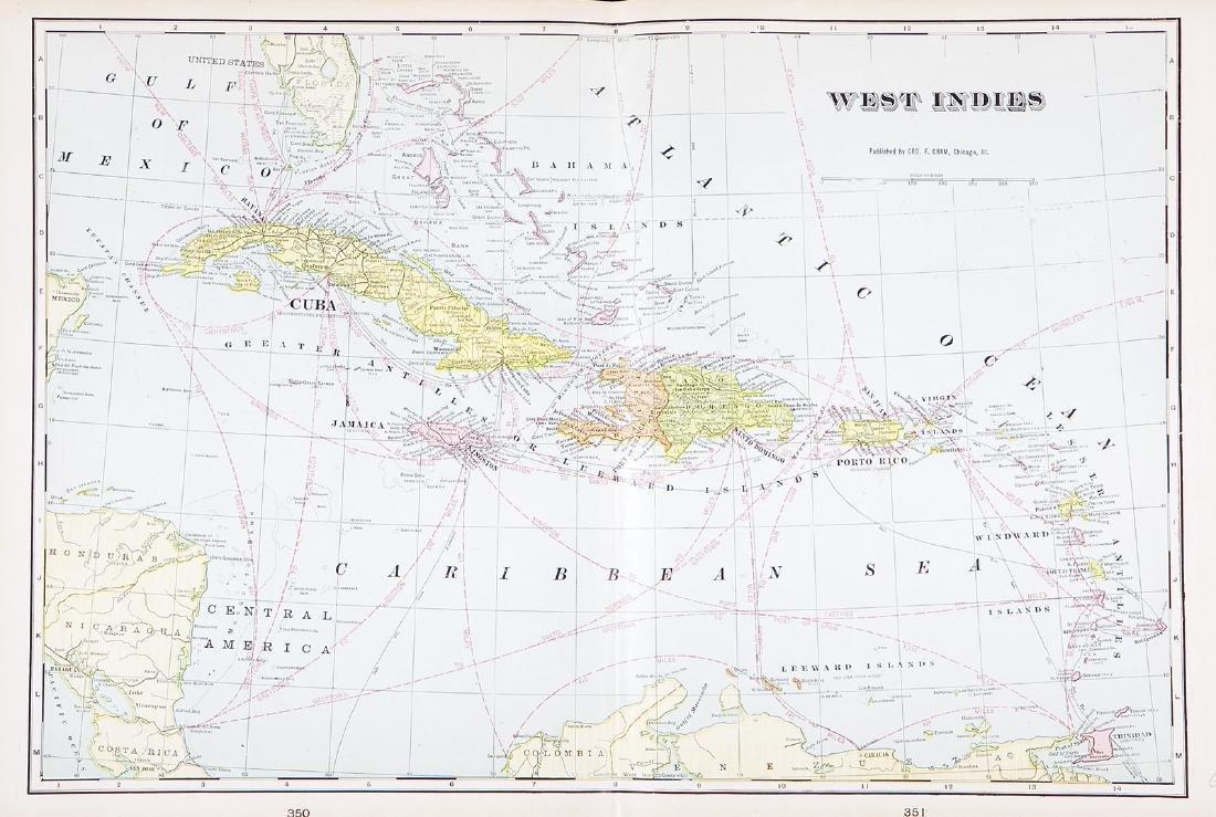 Cram: Antique Map of the West Indies, 1892