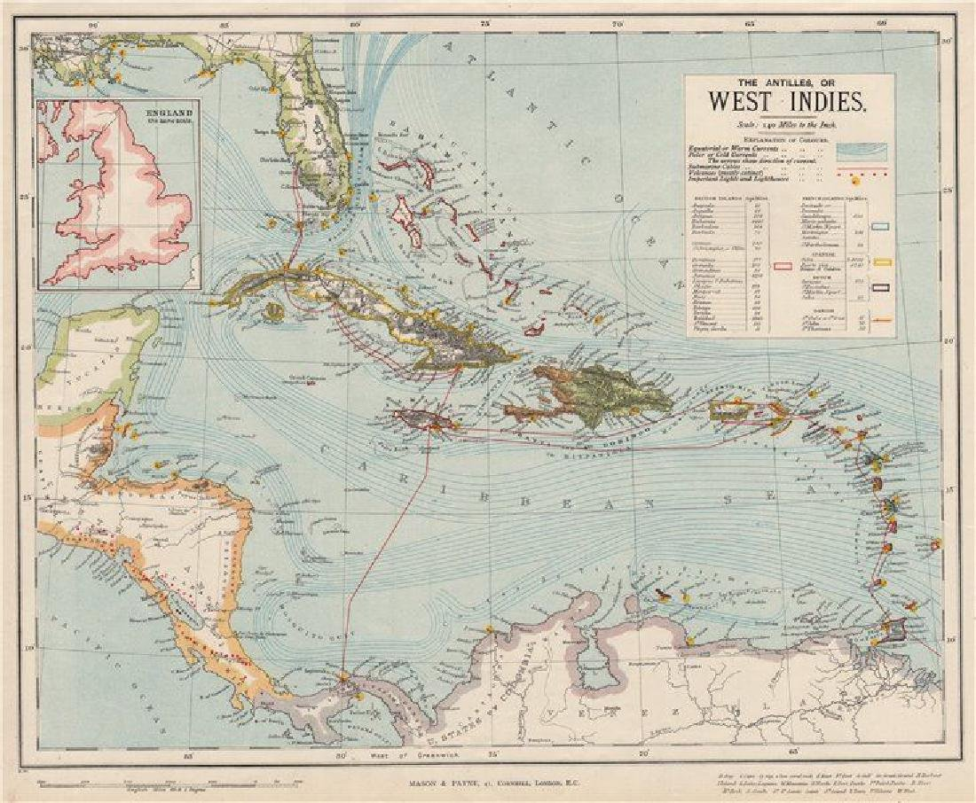 Letts: Antique Map of the West Indies, 1889