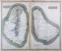 Thomson: Antique Map of St. Vincent & Barbados, 1814