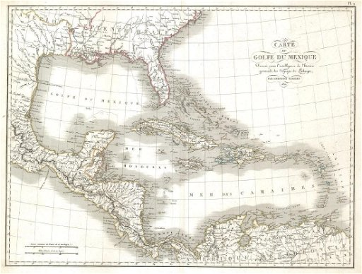 Tardieu: Map of Caribbean Islands/Gulf of Mexico, 1821