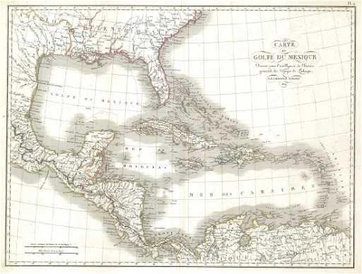 Tardieu: Map of Caribbean Islands/Gulf of Mexico, 1821