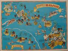 1938 R Taylor White Pictorial Map of Hawaii and Samoa