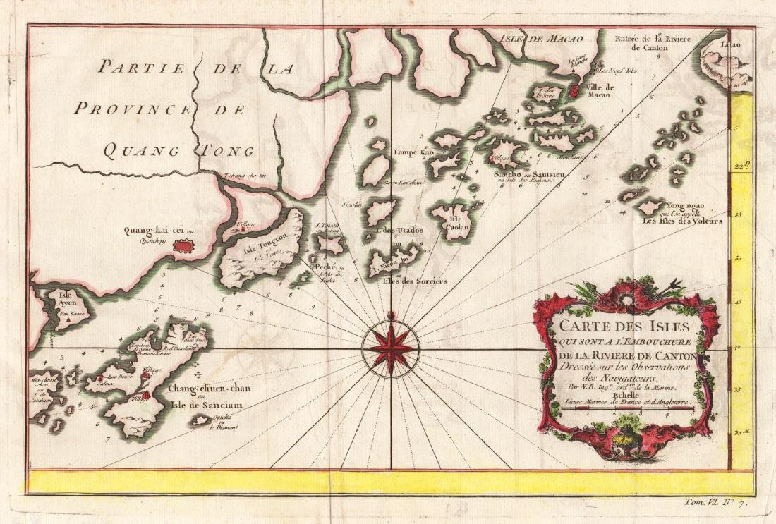 Bellin: Map of Pearl River Delta, Guangdong, 1750