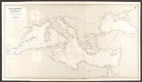 Mediterranean & Black Seas Admiralty nautical sea chart