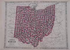 Johnson: Antique Map of Ohio, 1864