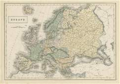 Hall: Antique Map of Europe, 1856