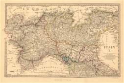 SDUK: Antique Map of ITALY Sardinian States 1845