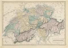 Hall: Antique Map of Switzerland, 1856