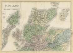 Hall: Antique Map of Scotland. North sheet. 1856