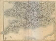 Hall: Antique Map of South England and Wales, 1845