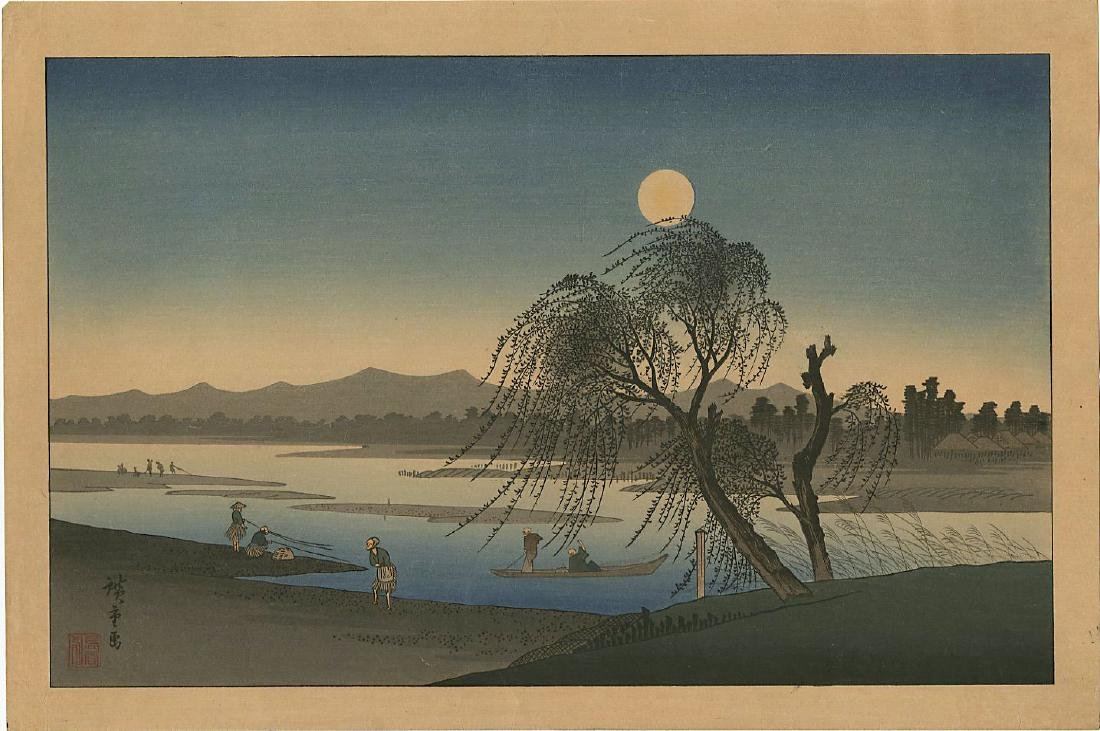 Ando Hiroshige Woodblock Autumn Moon on the Tama River
