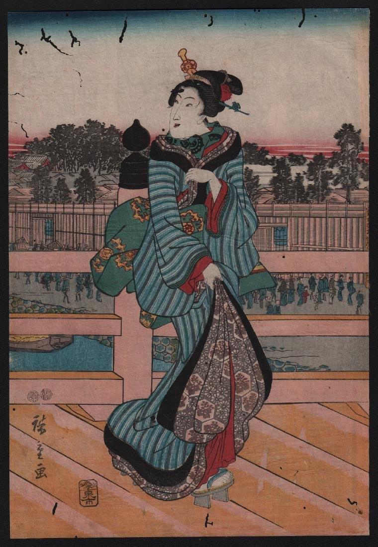 Ando Hiroshige Woodblock Beautiful Woman