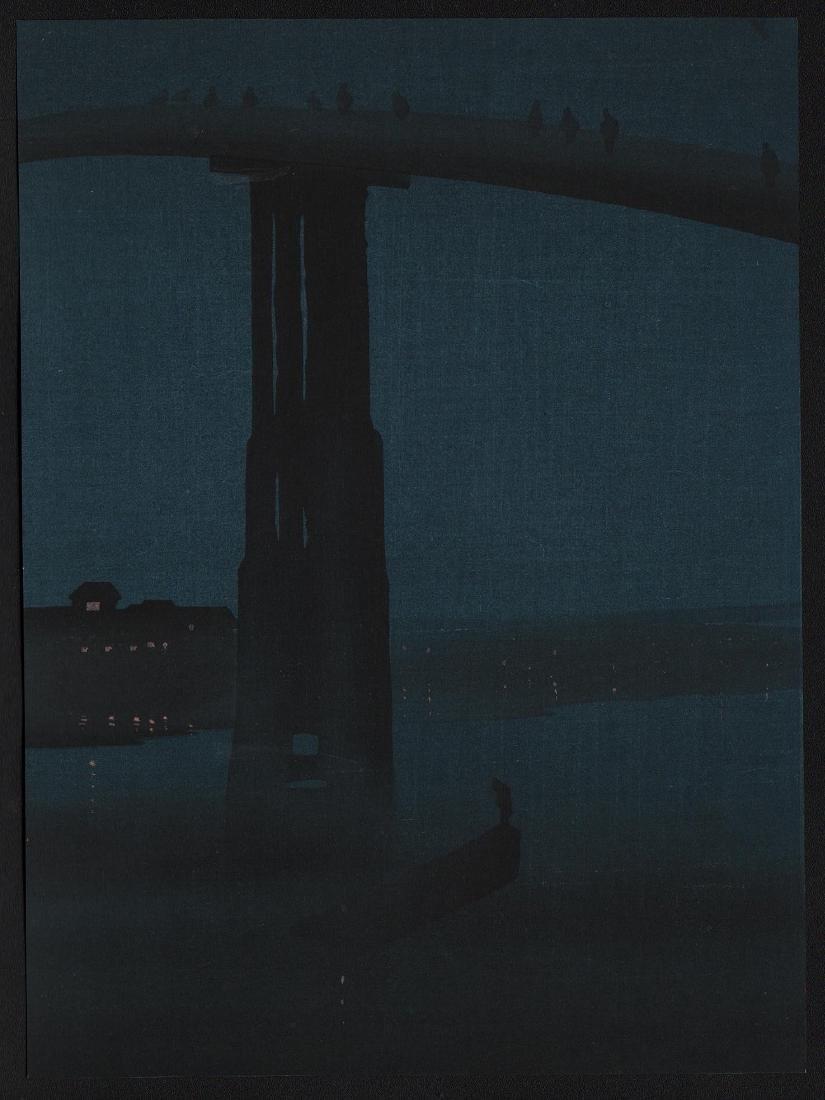 Eijiro Kobayashi Woodblock Night Bridge
