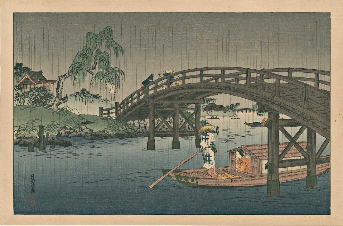 Eisen Keisai Woodblock Riverboat in the Rain