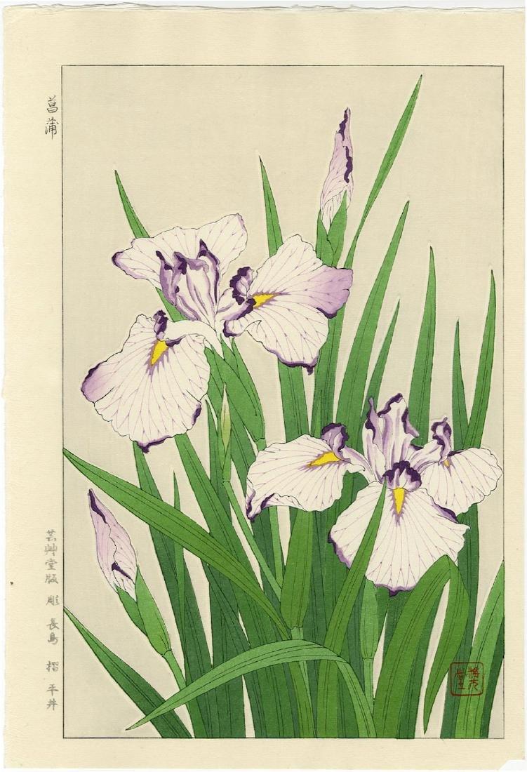 Kawarazaki Shodo Woodblock Irises